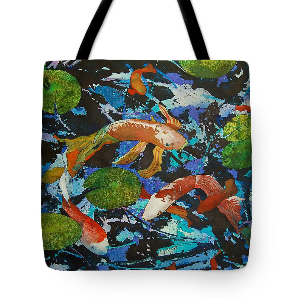 Pond Tote Bag featuring the painting Colorful Koi by Terry Holliday