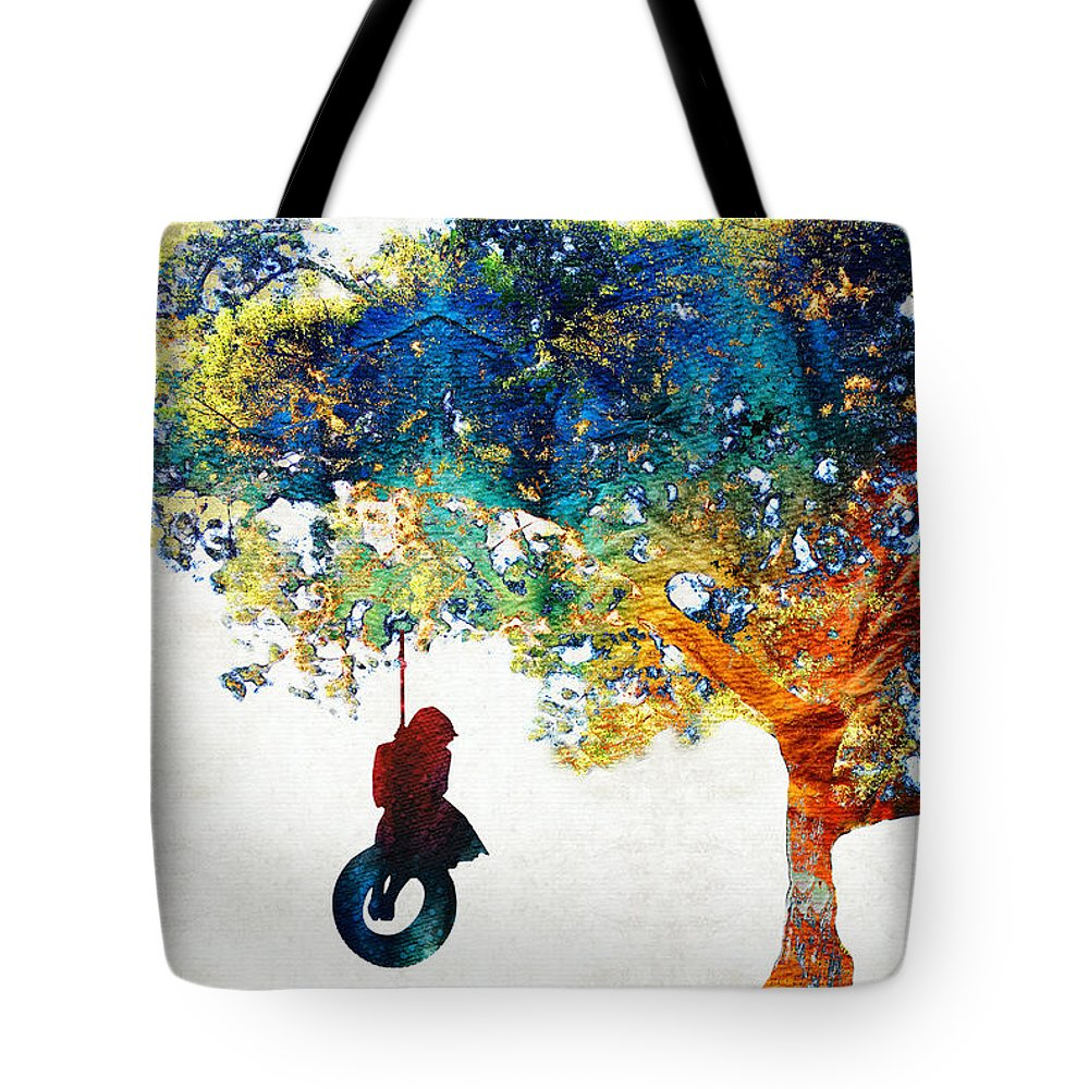 Tree Tote Bag featuring the painting Colorful Landscape Art - The Dreaming Tree - By Sharon Cummings by Sharon Cummings
