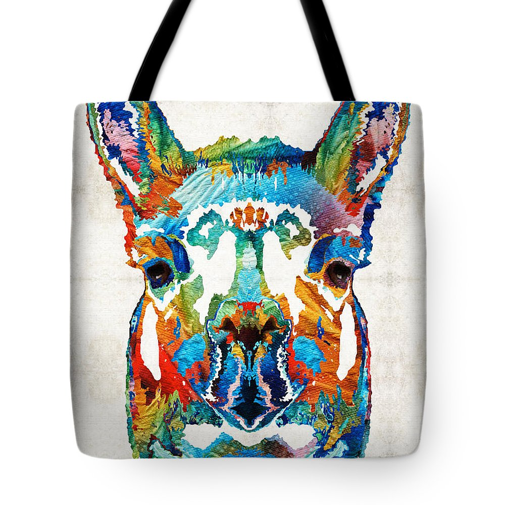 Llama Tote Bag featuring the painting Colorful Llama Art - The Prince - By Sharon Cummings by Sharon Cummings
