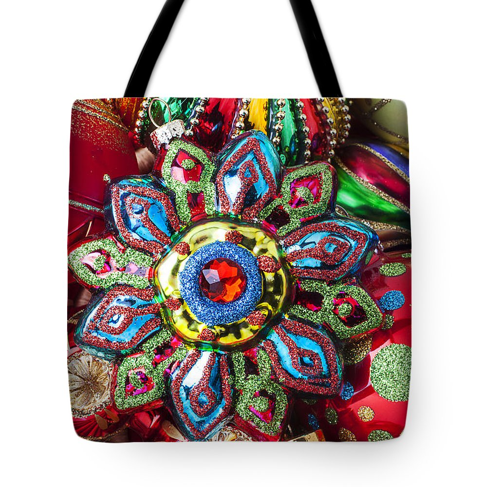 Christmas Tote Bag featuring the photograph Colorful Ornaments by Garry Gay