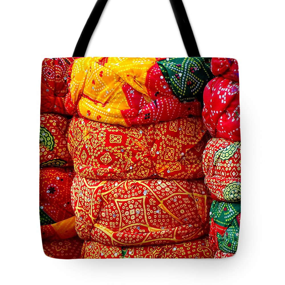 2199d0682b20 Turbans Tote Bag featuring the photograph Colorful Pagri Turbans In Jaipur  Rajasthan India by Sue Jacobi