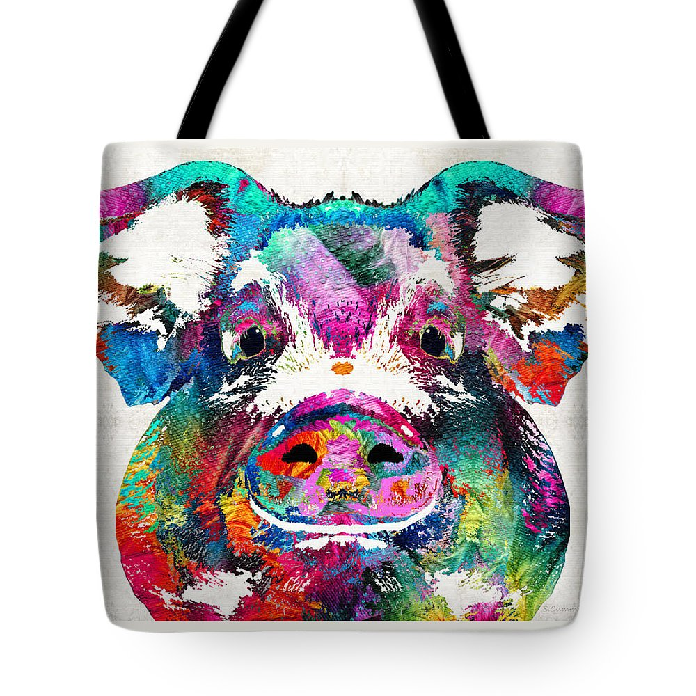 Pig Tote Bag featuring the painting Colorful Pig Art - Squeal Appeal - By Sharon Cummings by Sharon Cummings