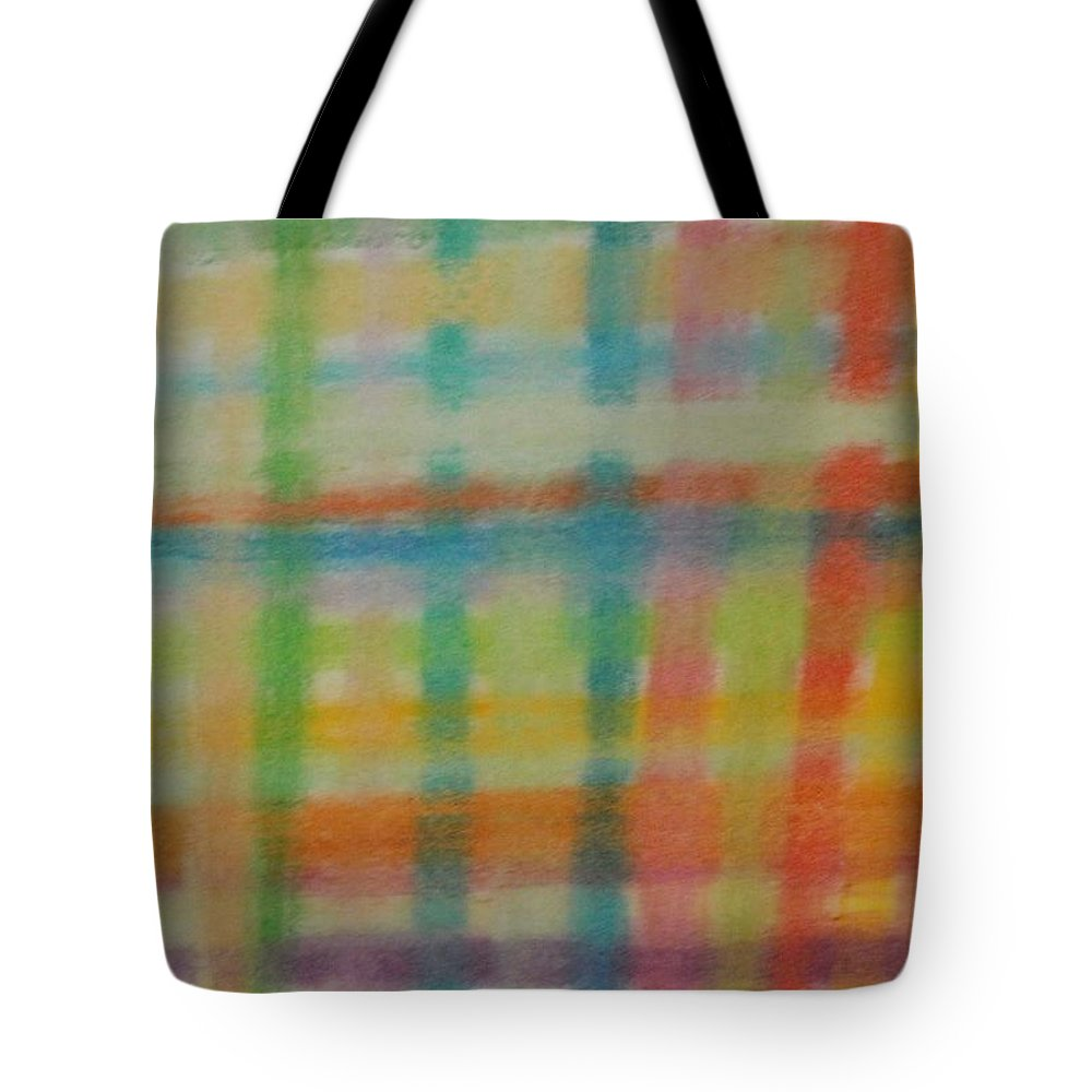 Plaid Tote Bag featuring the drawing Colorful Plaid by Thomasina Durkay