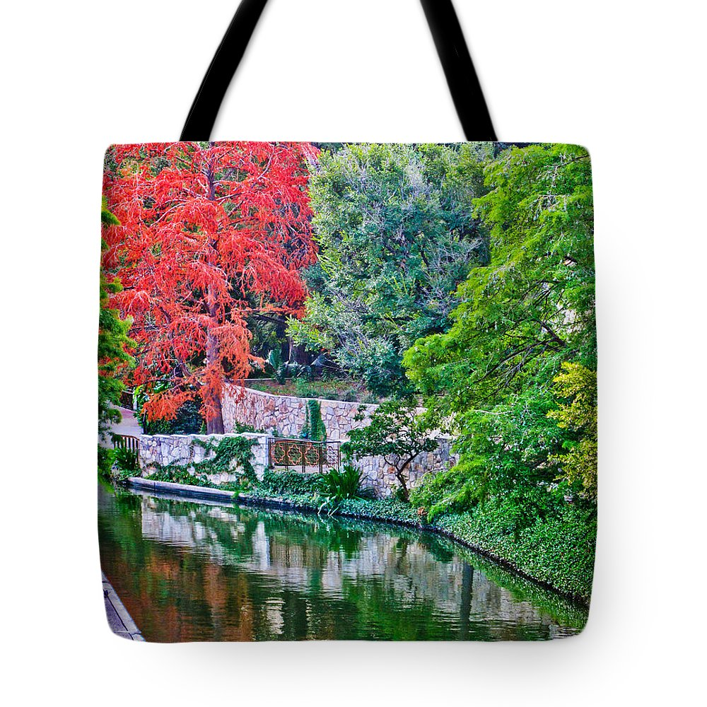 River Tote Bag featuring the photograph Colorful Riverwalk by David and Carol Kelly