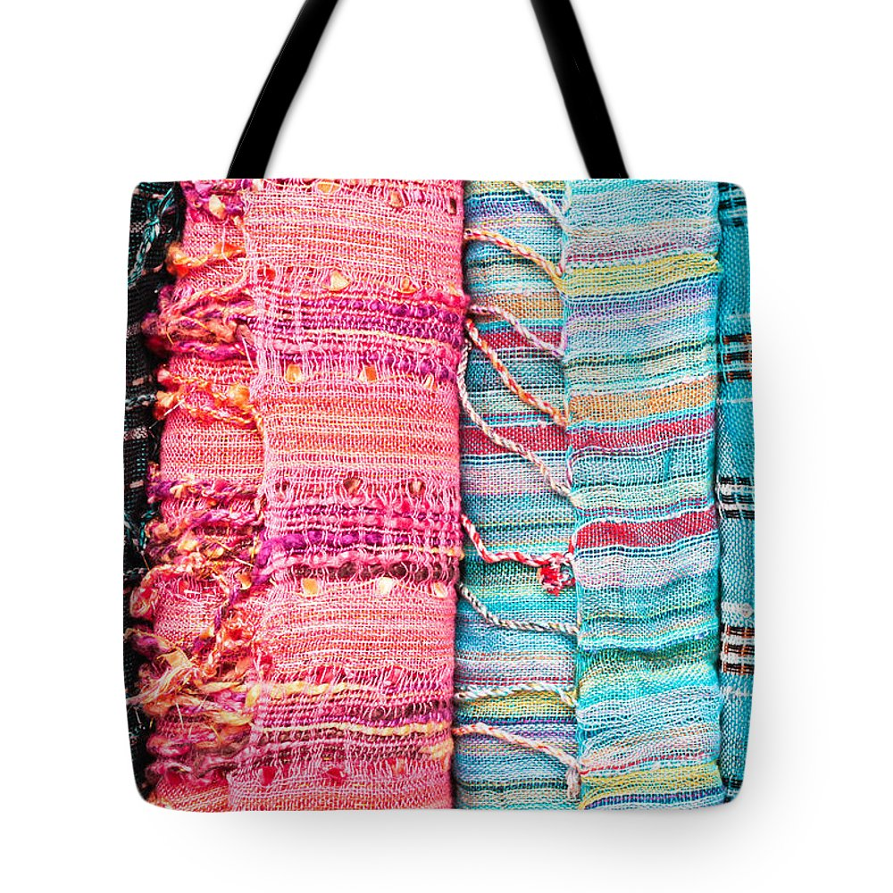 Accessory Tote Bag featuring the photograph Colorful Scarves by Tom Gowanlock