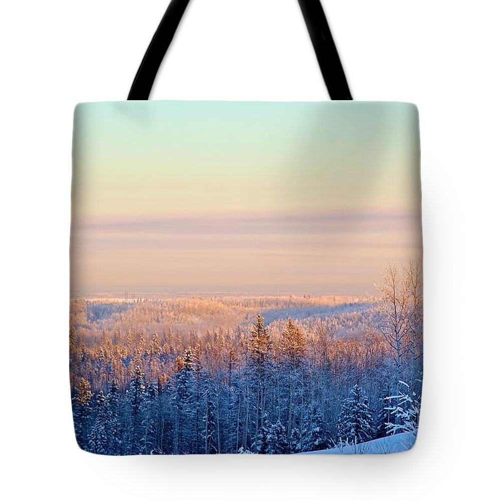 Winter Tote Bag featuring the photograph Colorful Snow Valley by Alanna DPhoto