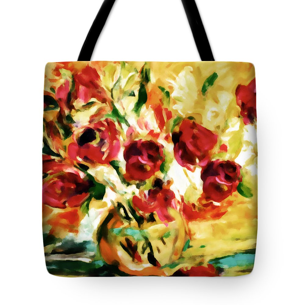 Abstract Tote Bag featuring the painting Colorful Spring Bouquet - Abstract by Georgiana Romanovna