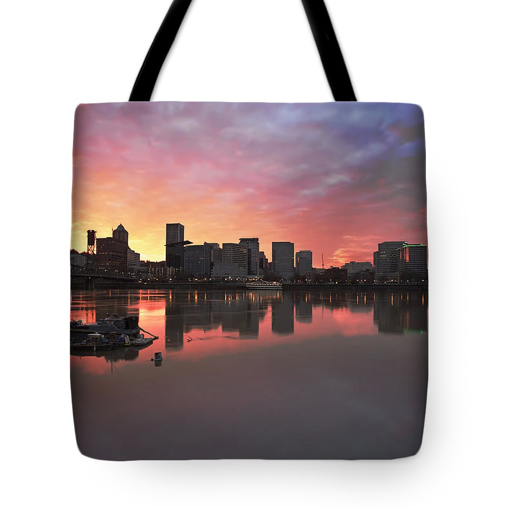 Portland Tote Bag featuring the photograph Colorful Sunset Over Portland Downtown Waterfront by Jit Lim