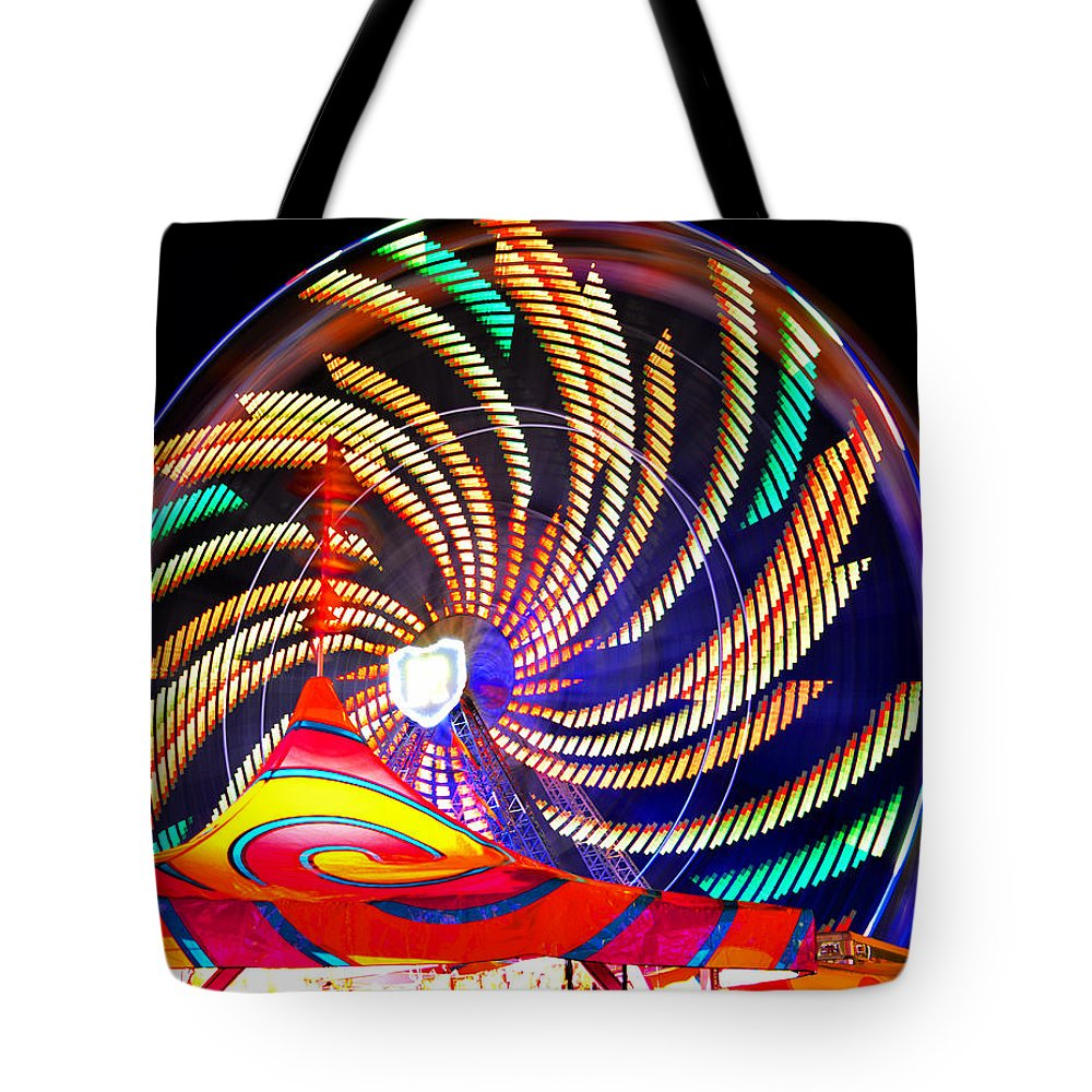 Ferris Wheel Tote Bag featuring the photograph Colorful Wheel Of Lights by David Lee Thompson