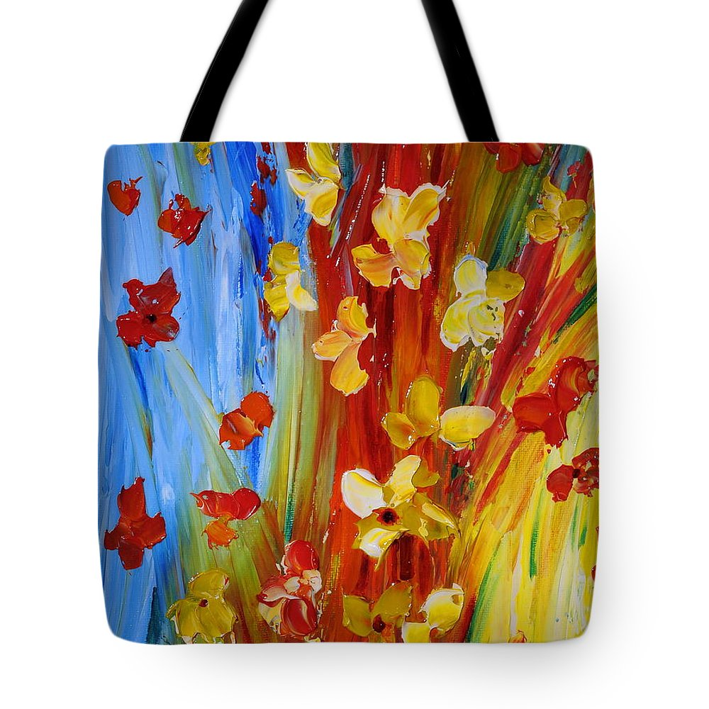 Flowers Tote Bag featuring the painting Colorful World by Teresa Wegrzyn