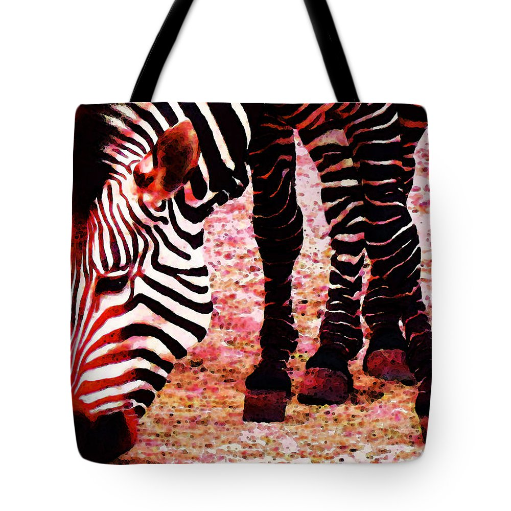 Zebra Tote Bag featuring the painting Colorful Zebra - Buy Black And White Stripes Art by Sharon Cummings