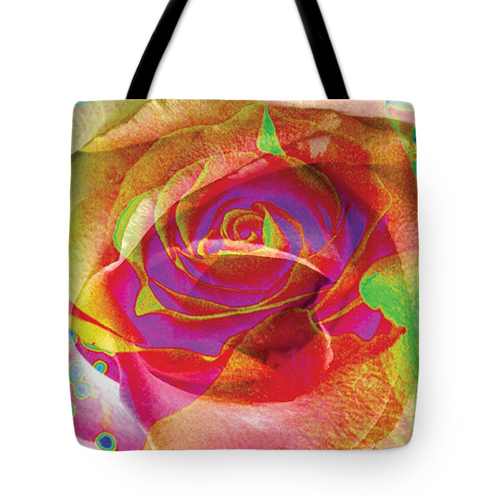 Rose Flower Tote Bag featuring the digital art Colorfull Rose by Yael VanGruber
