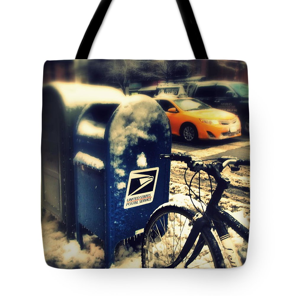 Winter Tote Bag featuring the photograph Colors In Snow by Miriam Danar