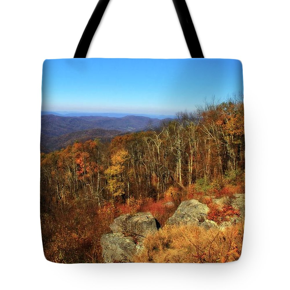 Colors Of Autumn In Shenandoah National Park Tote Bag featuring the photograph Colors Of Autumn In Shenandoah National Park by Dan Sproul