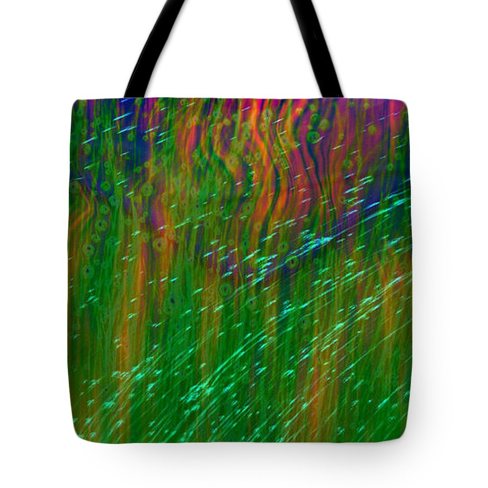 Abstract Tote Bag featuring the digital art Colors Of Grass by Linda Sannuti