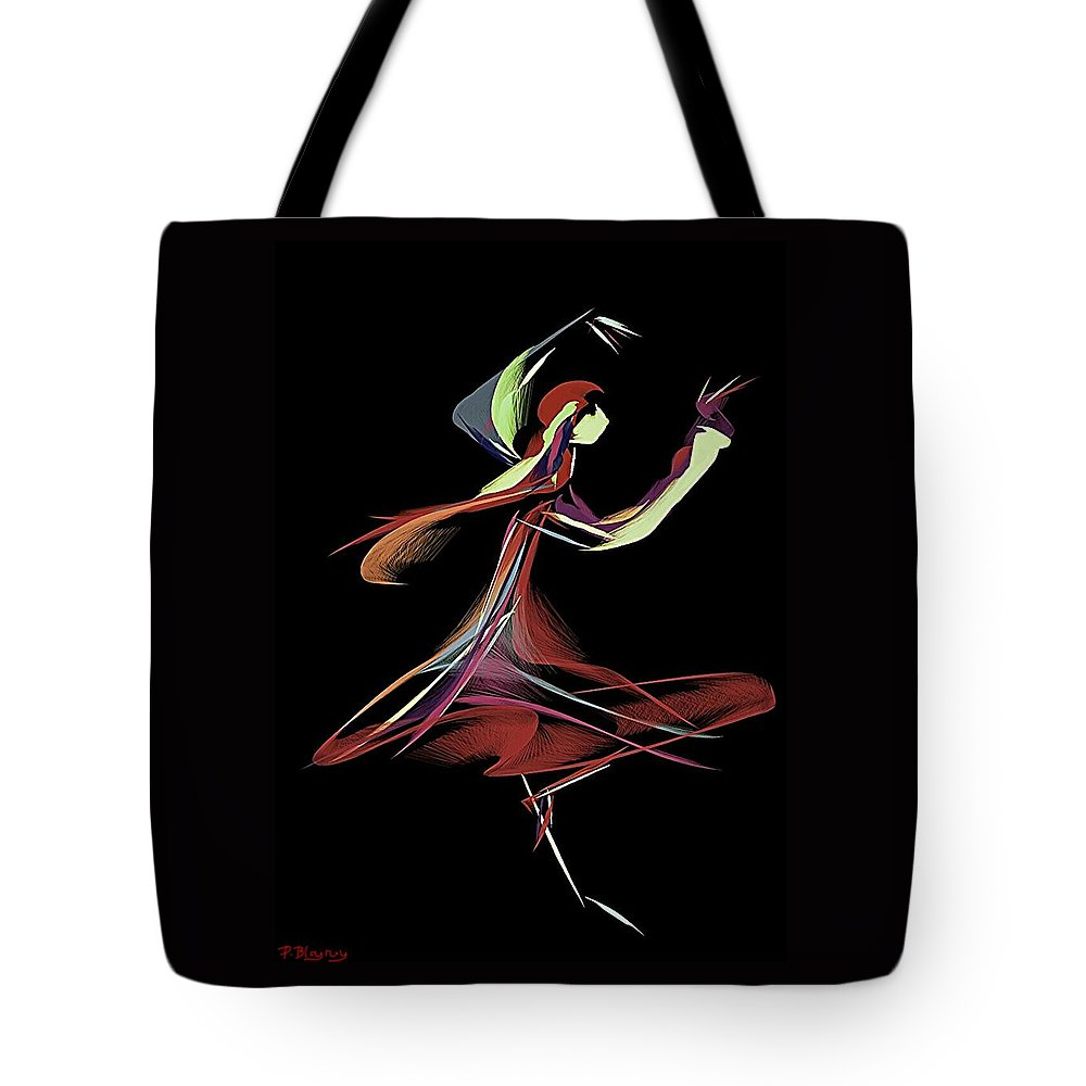 Dancer Tote Bag featuring the digital art Colourful Dancer by Pamela Blayney