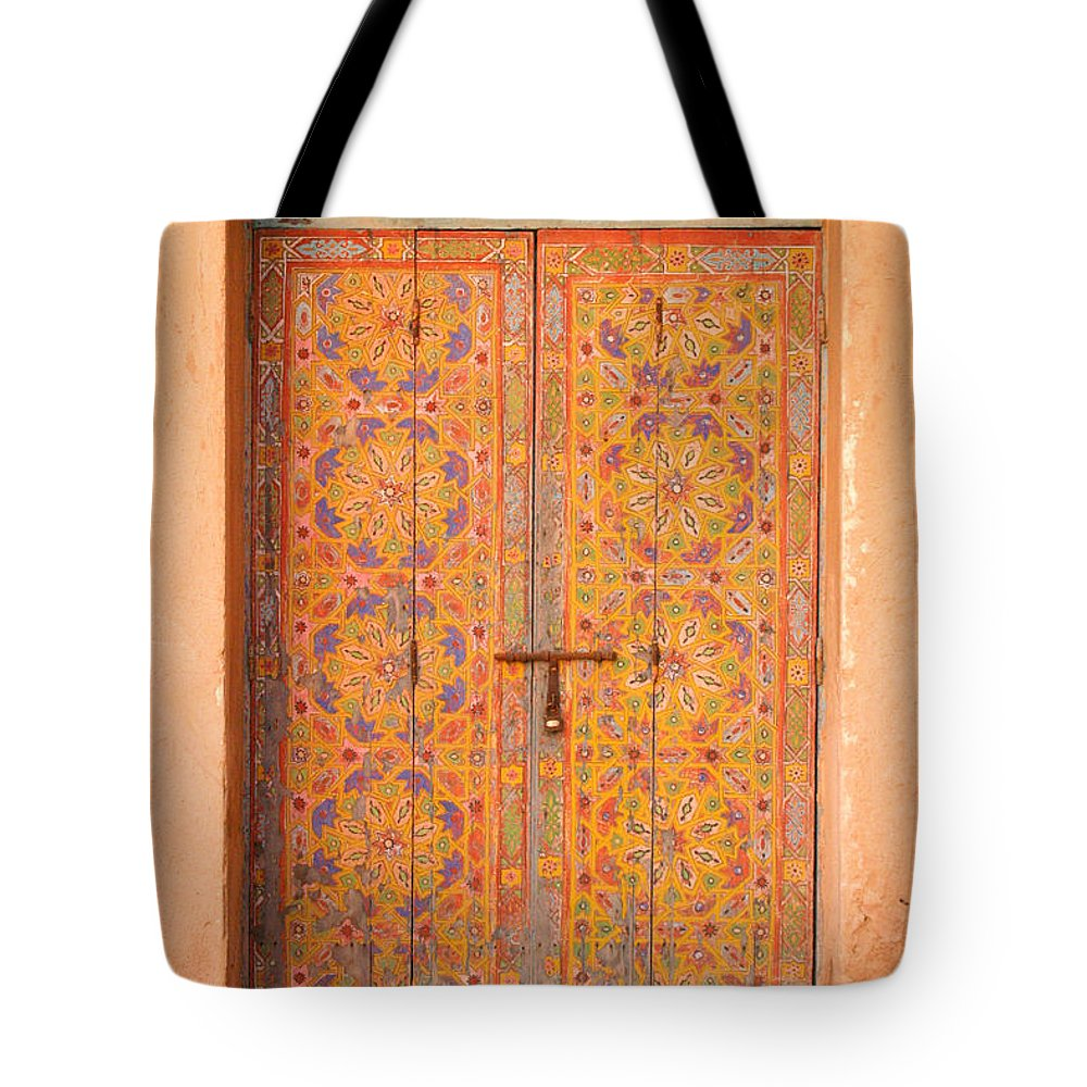 Door Tote Bag featuring the photograph Colourful Entrance Door Sale Rabat Morocco by Ralph A Ledergerber-Photography