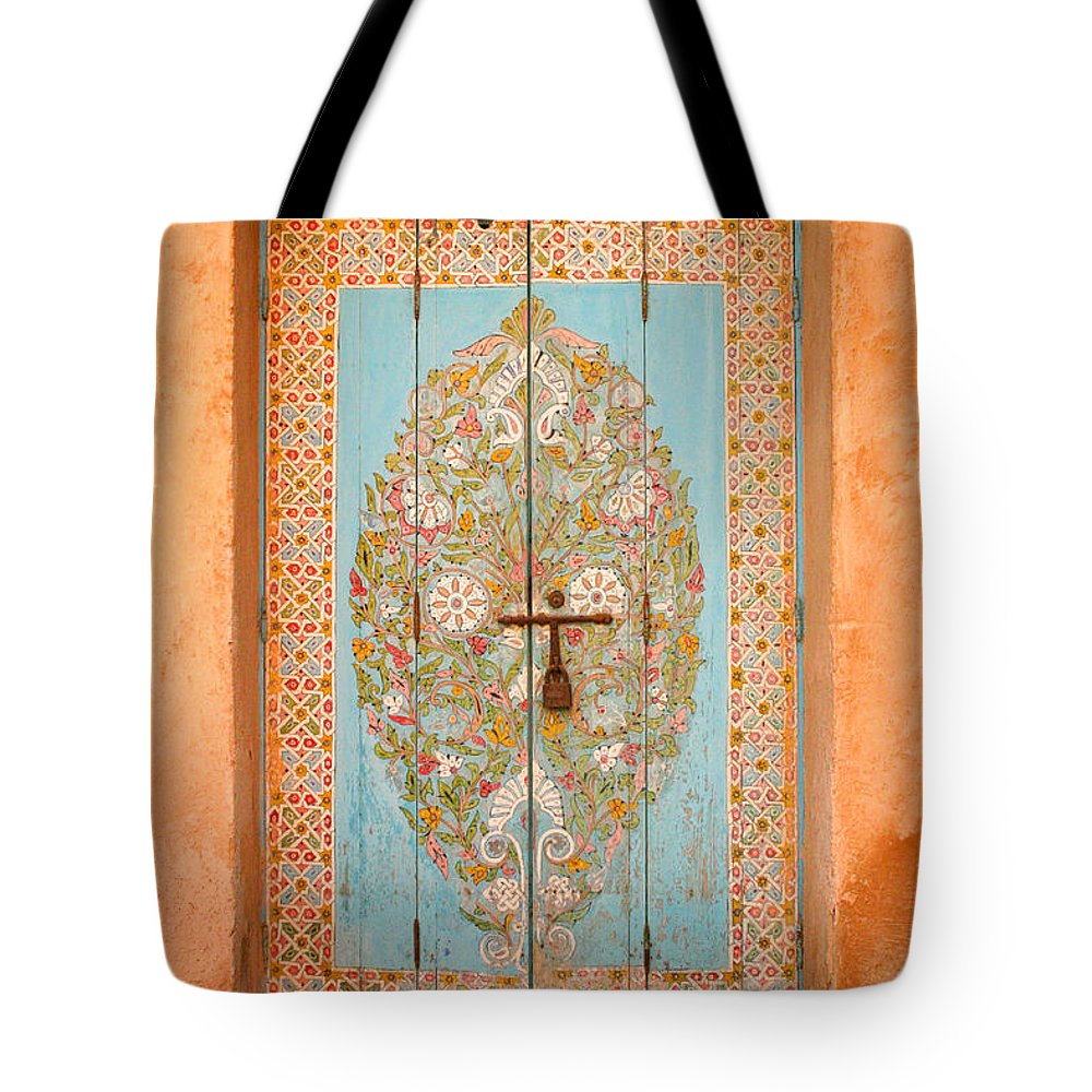 Door Tote Bag featuring the photograph Colourful Moroccan Entrance Door Sale Rabat Morocco by Ralph A Ledergerber-Photography