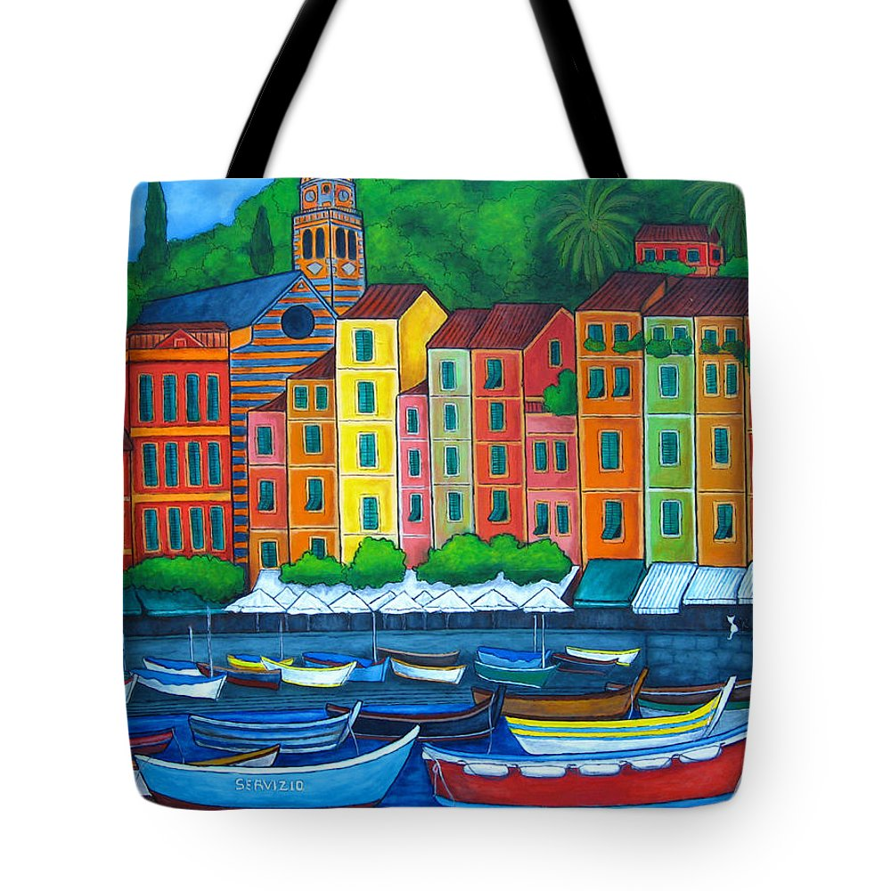 Portofino Tote Bag featuring the painting Colours Of Portofino by Lisa Lorenz