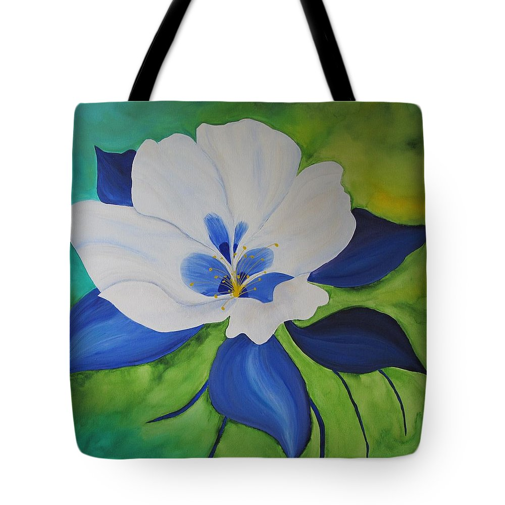Columbine Tote Bag featuring the painting Columbine by Deborah Schuster
