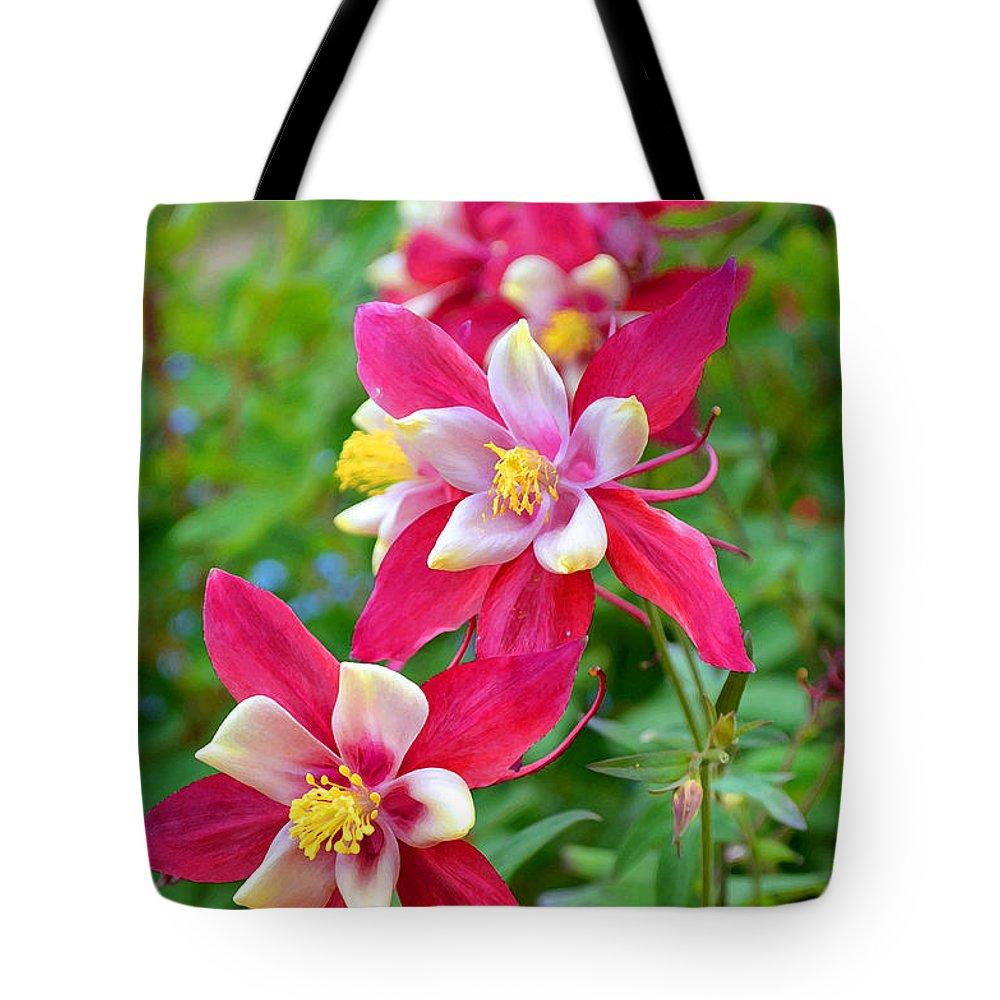 Nature Tote Bag featuring the digital art Columbine Flower by Eva Kaufman