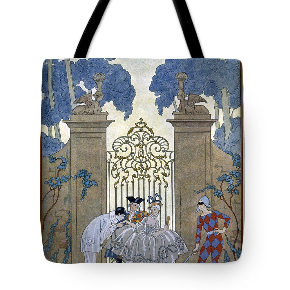 Harlequin Tote Bag featuring the painting Columbine by Georges Barbier