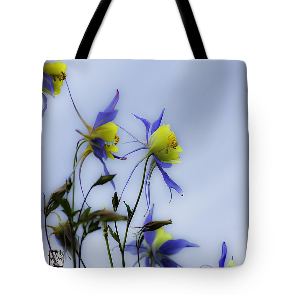 Columbine Flowers Tote Bag featuring the photograph Columbines by Peter v Quenter