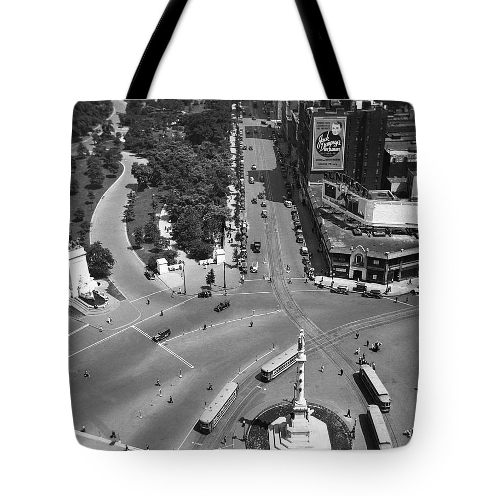 1930 Tote Bag featuring the photograph Columbus Circle by Underwood Archives
