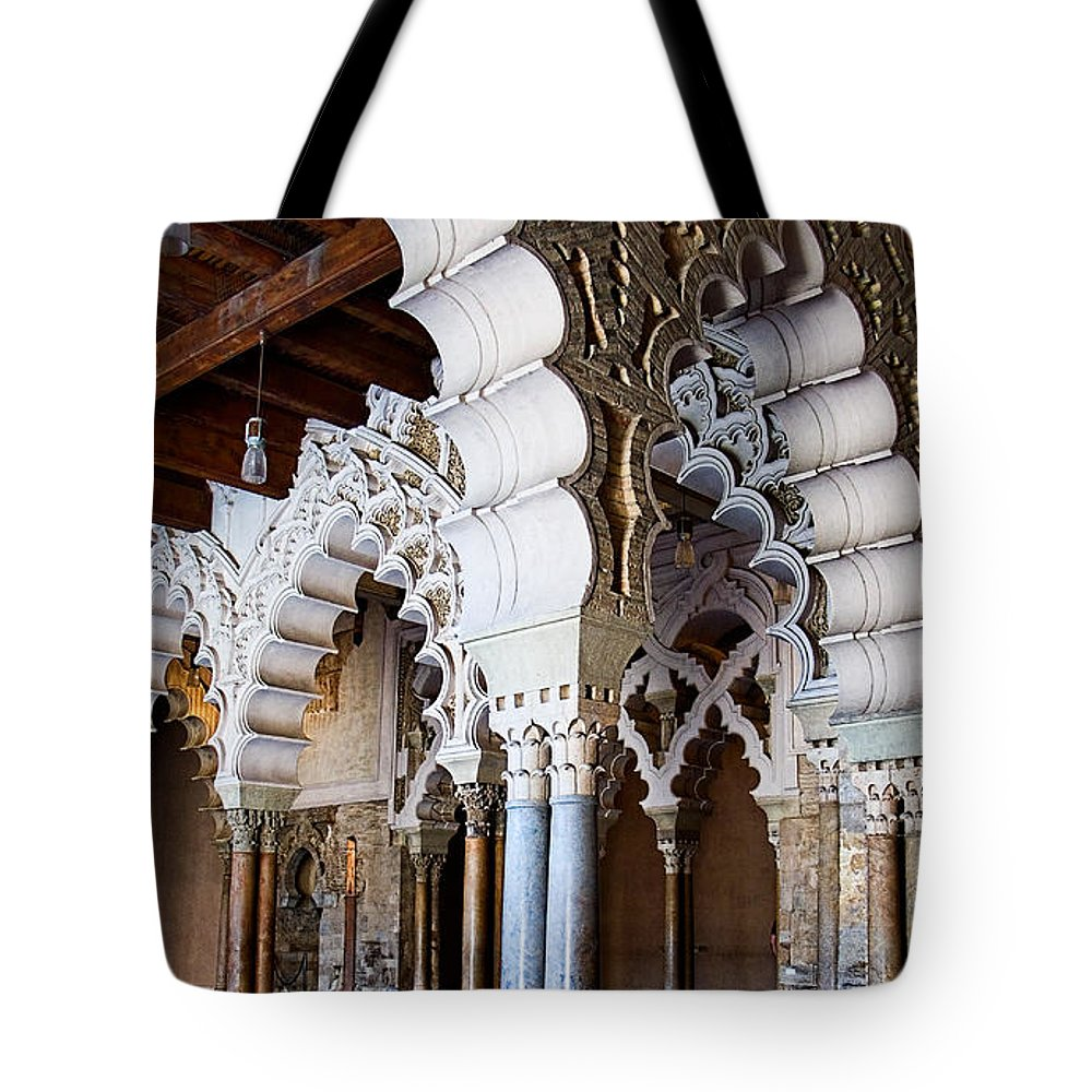 Column Tote Bag featuring the photograph Columns And Arches No2 by Weston Westmoreland