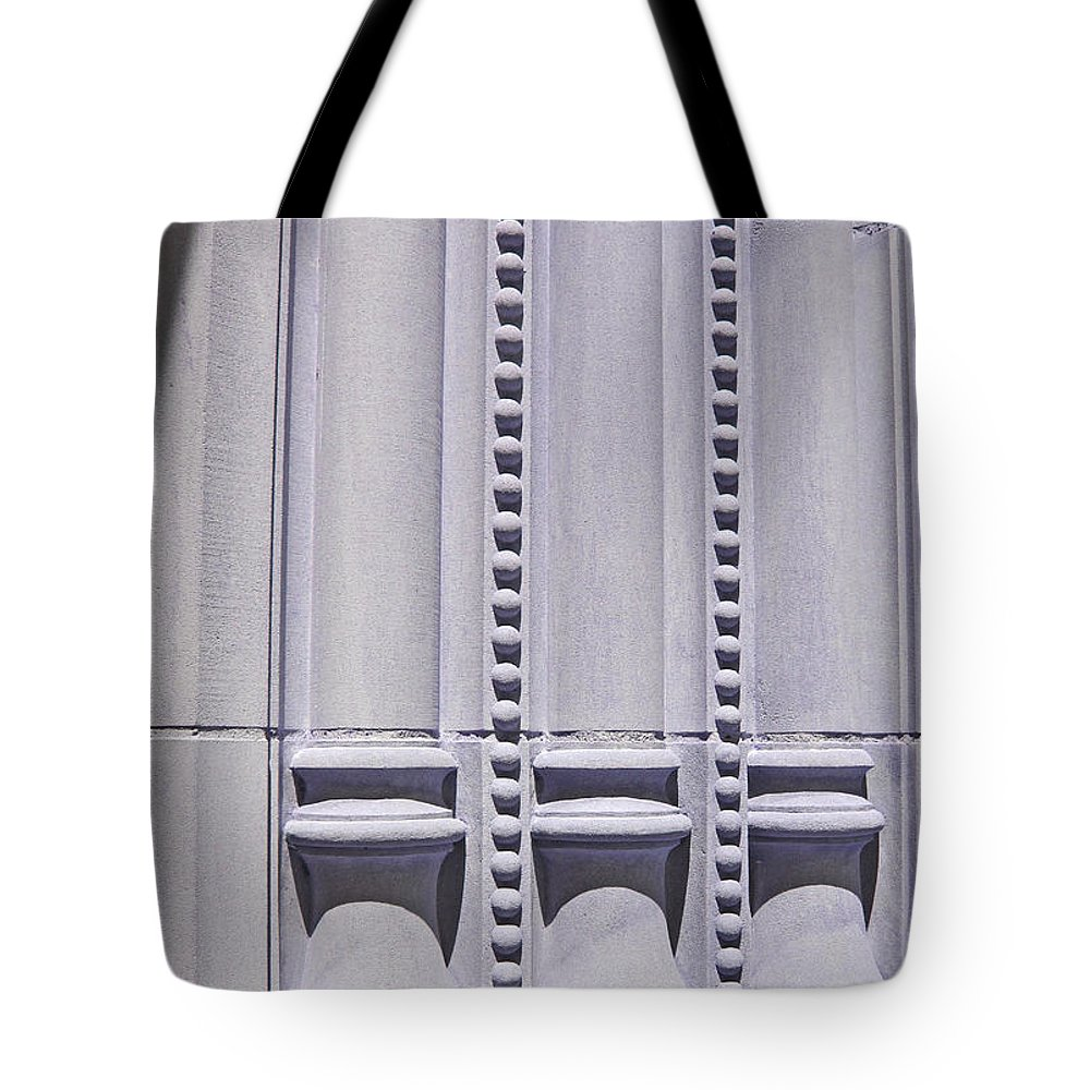 Abstract Tote Bag featuring the photograph Columns In Sunshine And Shadow by Barbara McDevitt