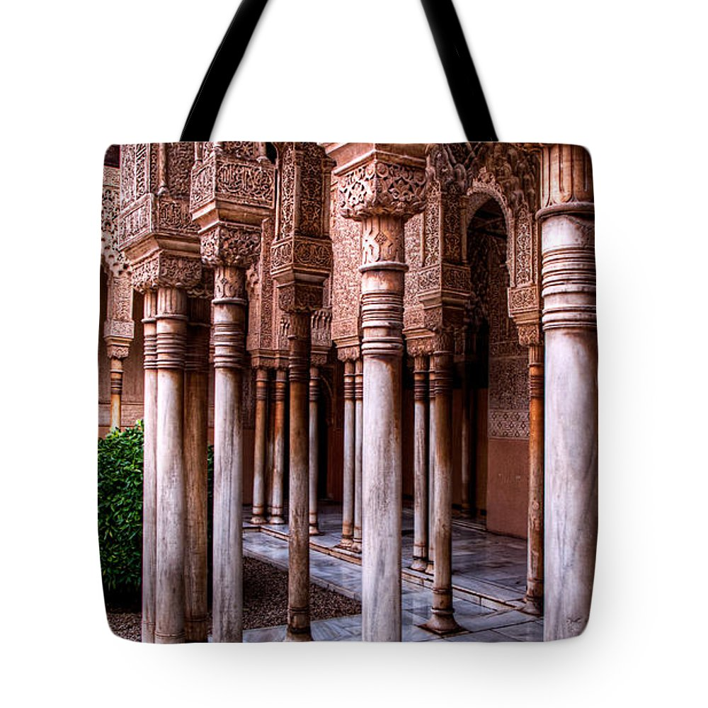 Alhambra Tote Bag featuring the photograph Columns Of The Court Of The Lions by Weston Westmoreland