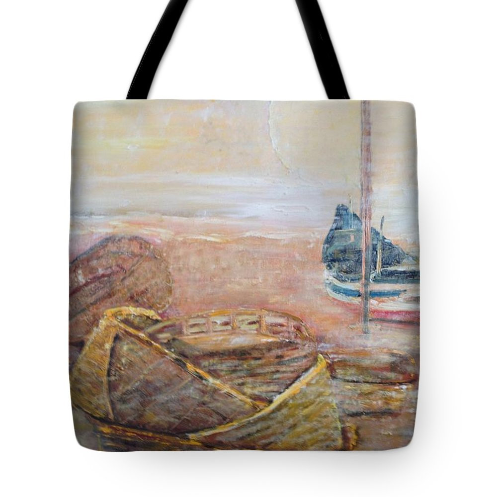 Beach Tote Bag featuring the painting Colva by Peggy Blood