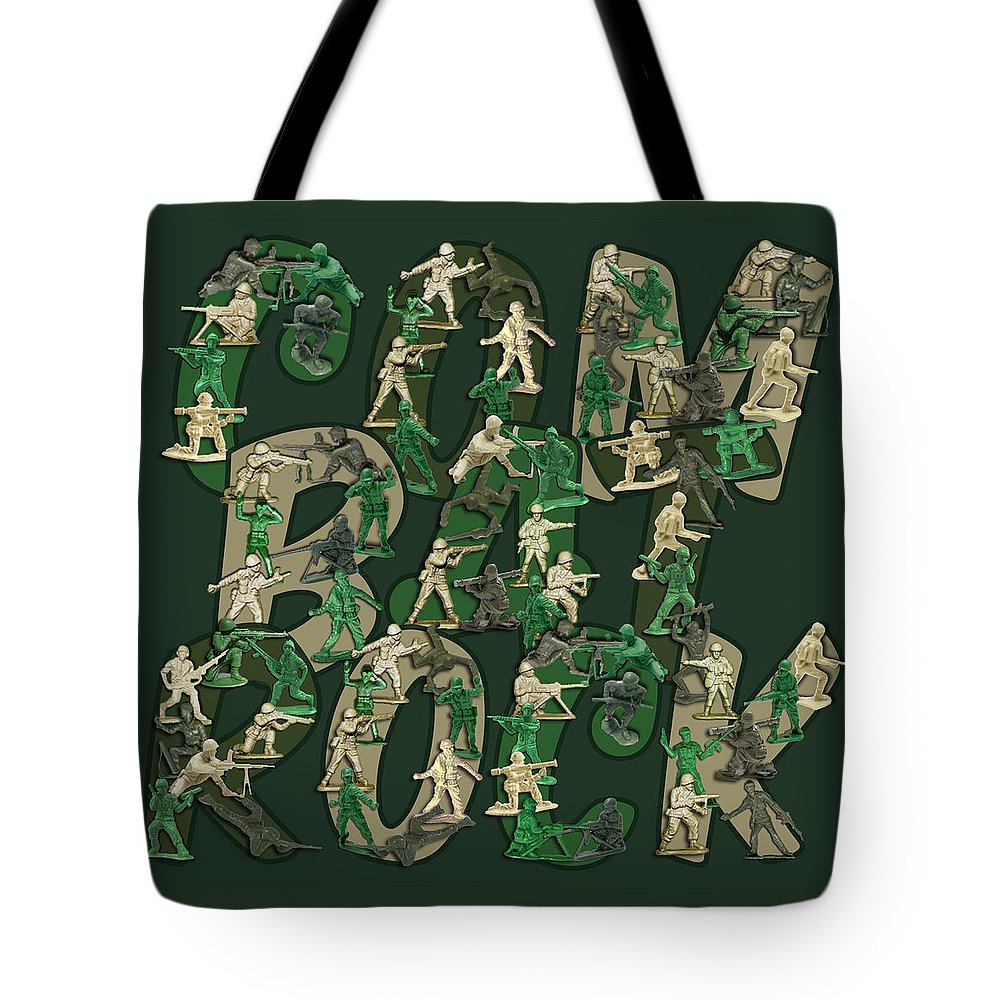 Army Men Tote Bag featuring the digital art Combat Rock by Douglas Martin