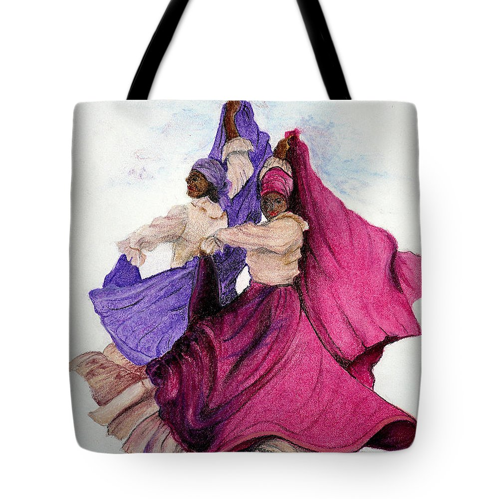 Caribbean Paintings  Caribbean Dancers Paintings Tropical Paintings Island Folk Dancers Paintings Trinidad Folk Dancers Paintings Tropical Paintings Greeting Card Paintings Canvas Print Paintings  Tote Bag featuring the pastel Come Dance With Me by Karin Dawn Kelshall- Best