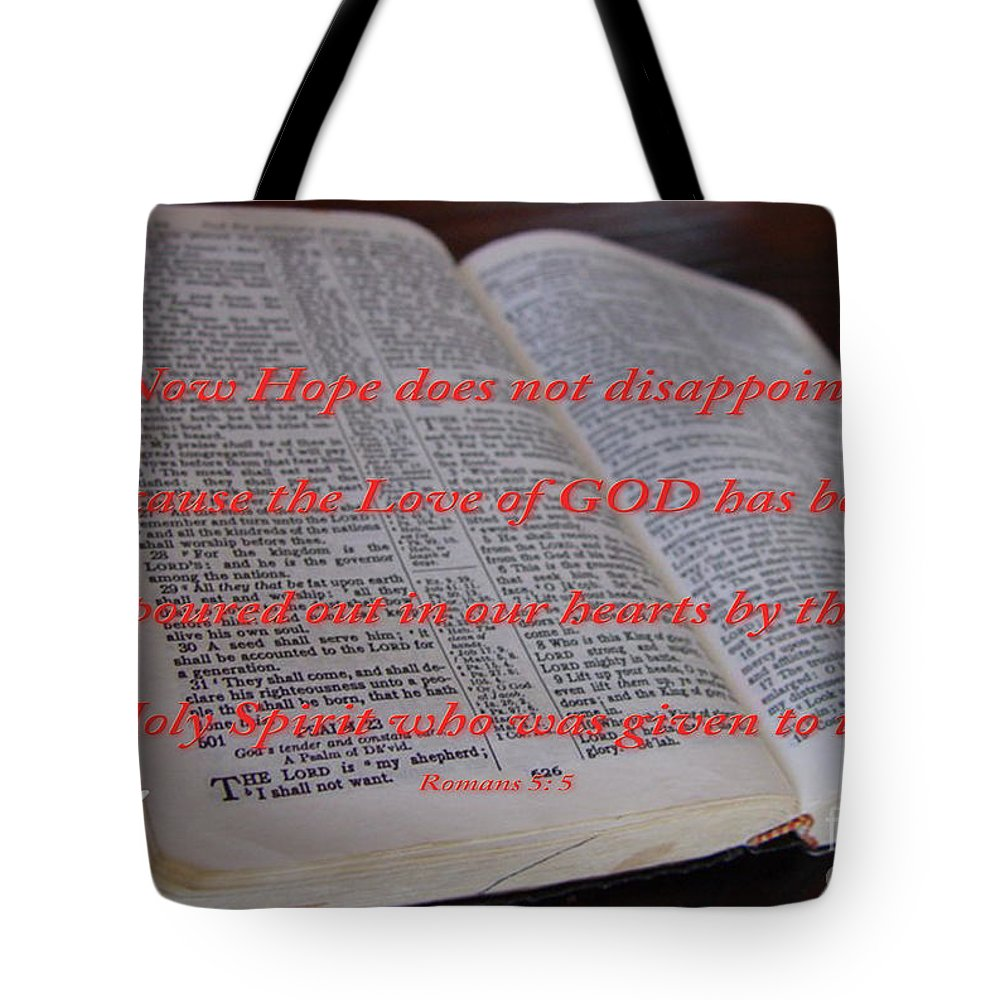 Gods Word Photograph Tote Bag featuring the photograph Come Holy Spirit by Beverly Guilliams