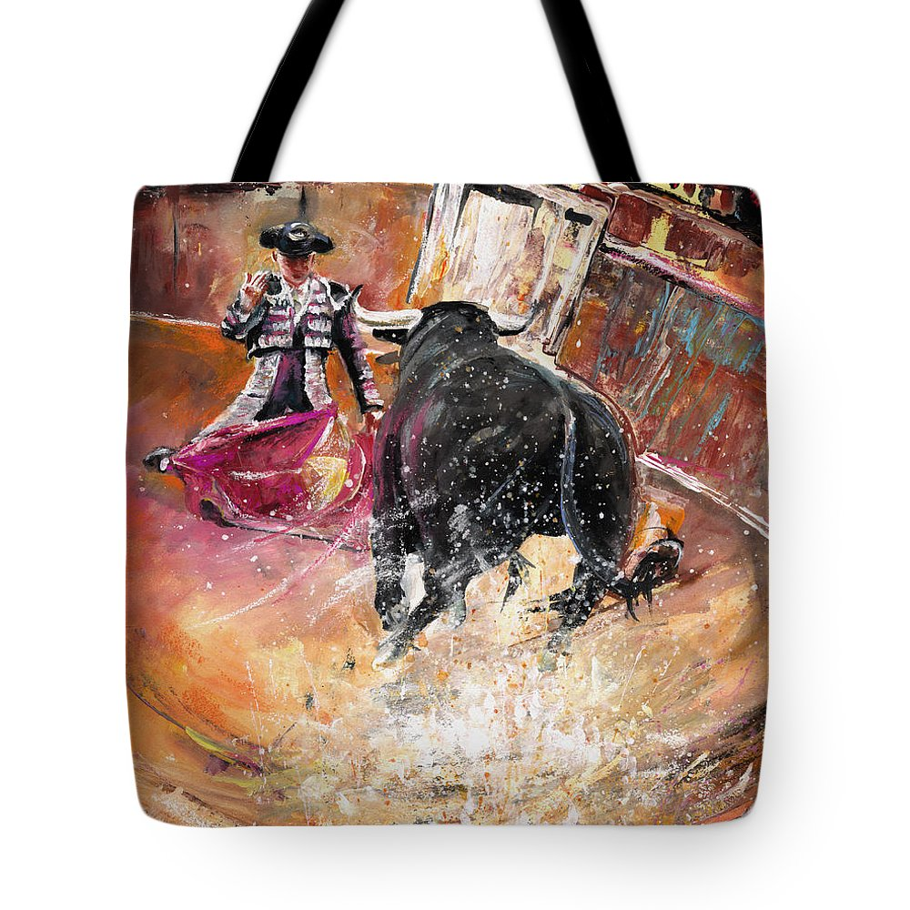 Bullfight Tote Bag featuring the painting Come If You Dare by Miki De Goodaboom