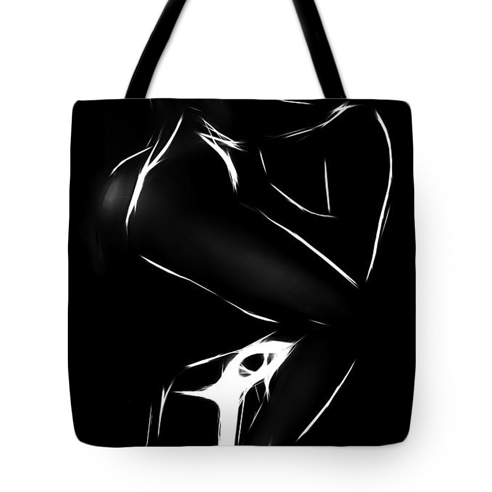 Boy Girl Female Male Woman Man Sensual Erotic Love Lover Lovers Loving Nude Naked Black White Boobs Kiss Kissing Tote Bag featuring the painting Come On Boy by Steve K