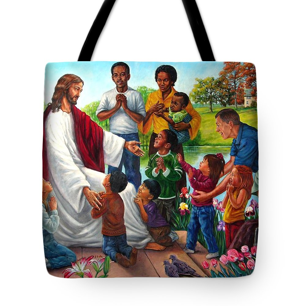 Children Tote Bag featuring the painting Come Unto Me by John Lautermilch