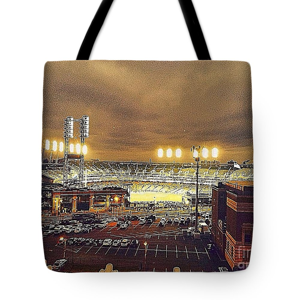 Comerica Park Tote Bag featuring the photograph Comerica Night Game 2 by J S