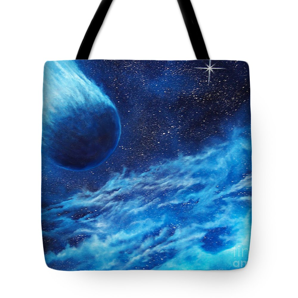 Astro Tote Bag featuring the painting Comet Experience by Murphy Elliott