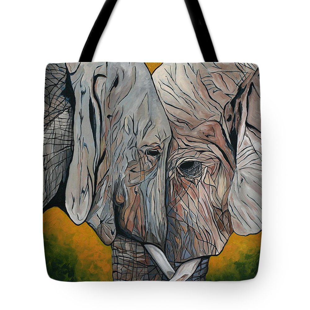 Elephant Tote Bag featuring the painting Comfort by Aimee Vance