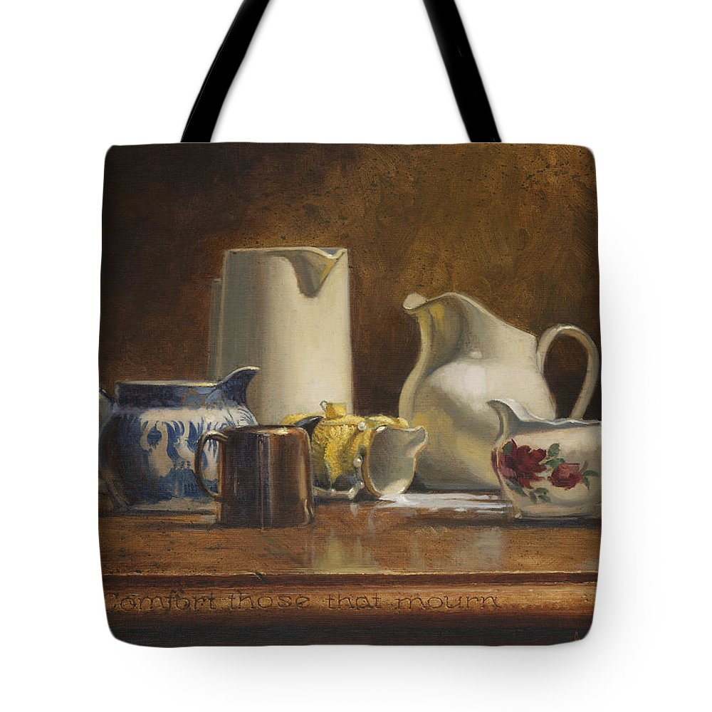 Humorous Tote Bag featuring the painting Comfort Those That Mourn by Graham Braddock