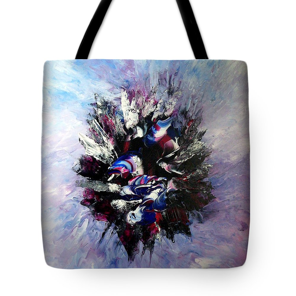 Abstract Tote Bag featuring the painting Coming From The Other Side Of Life by Isabelle Vobmann
