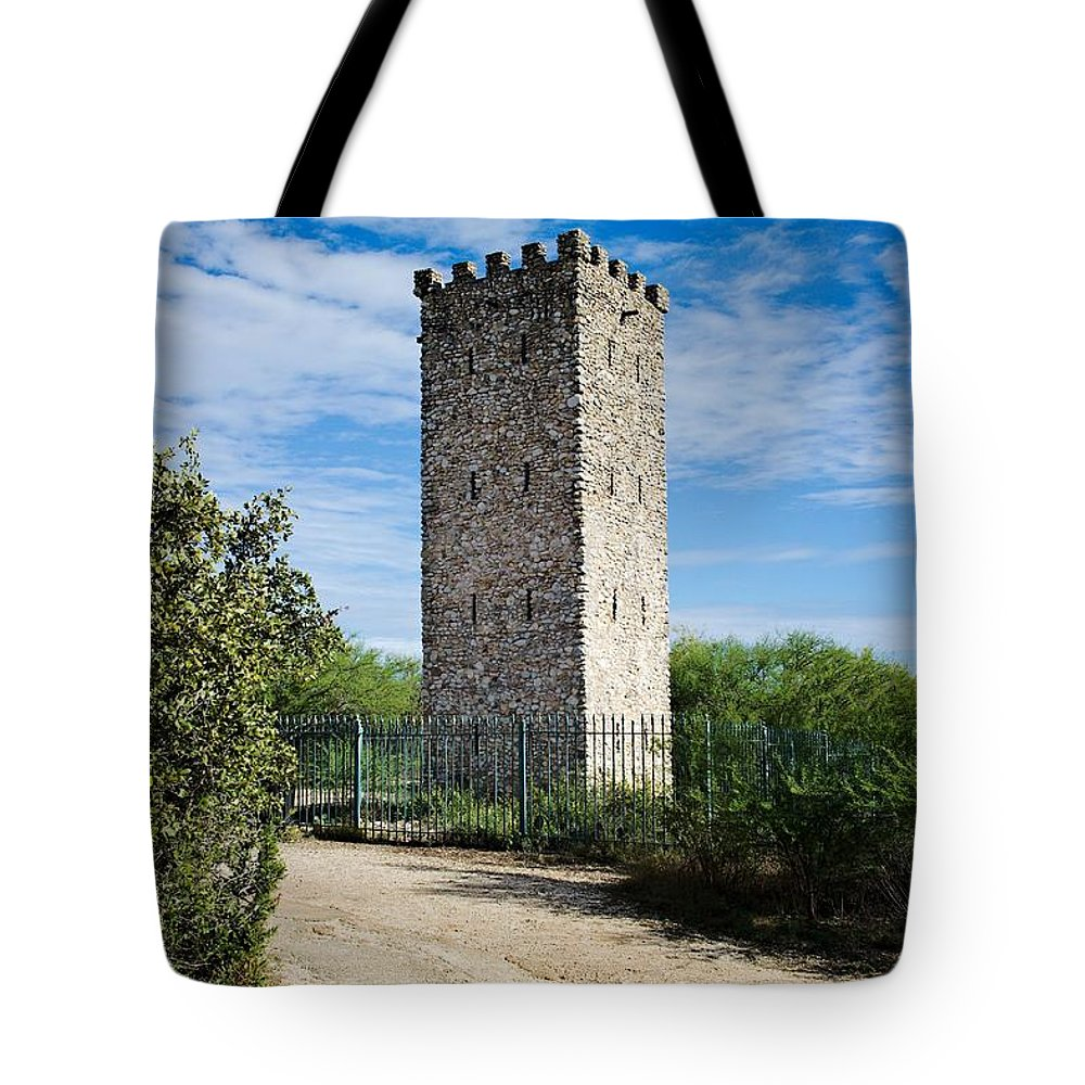 Commanche Tote Bag featuring the photograph Commanche Park Tower by Gary Richards