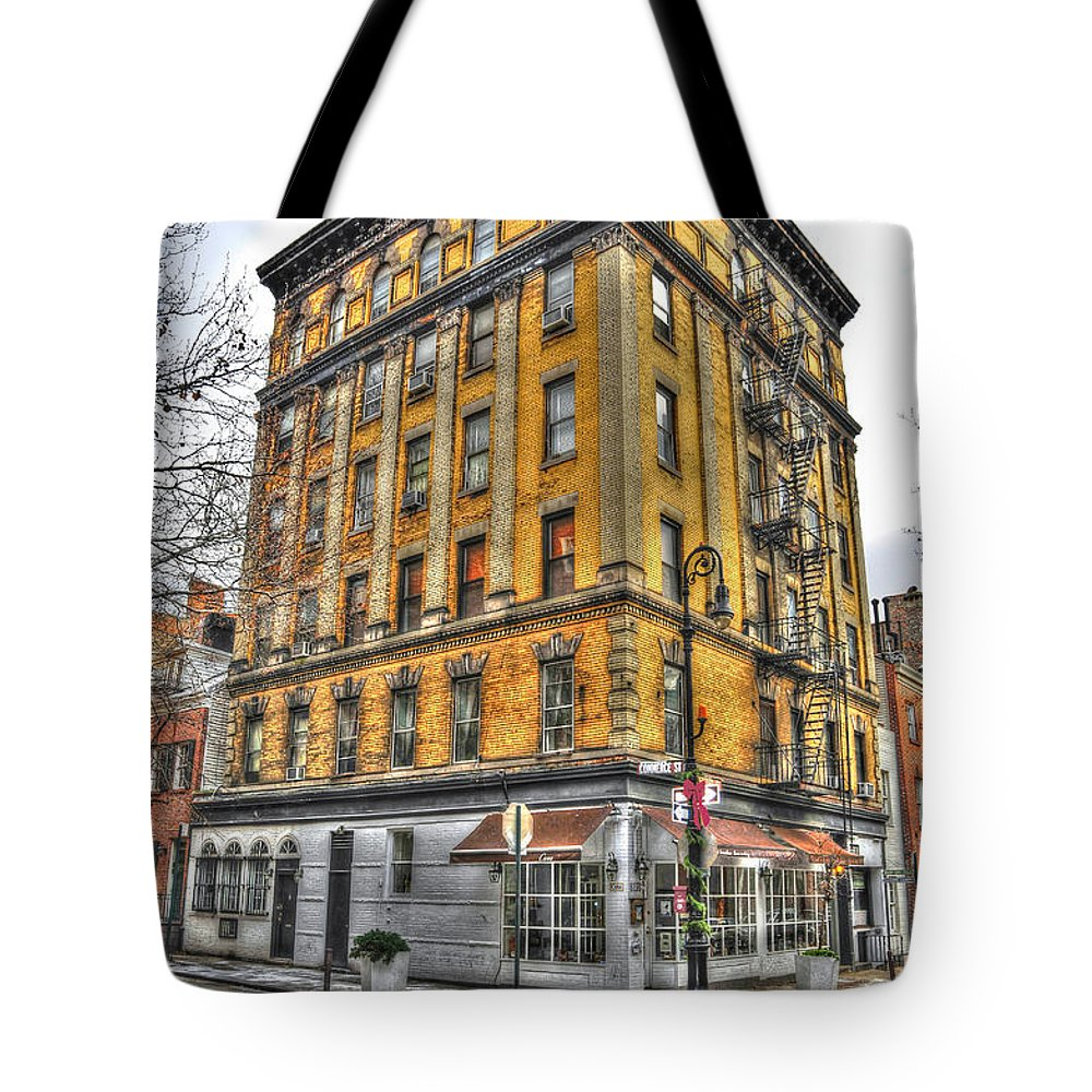 Commerce Street Tote Bag featuring the photograph Commerce Street Architecture by Randy Aveille