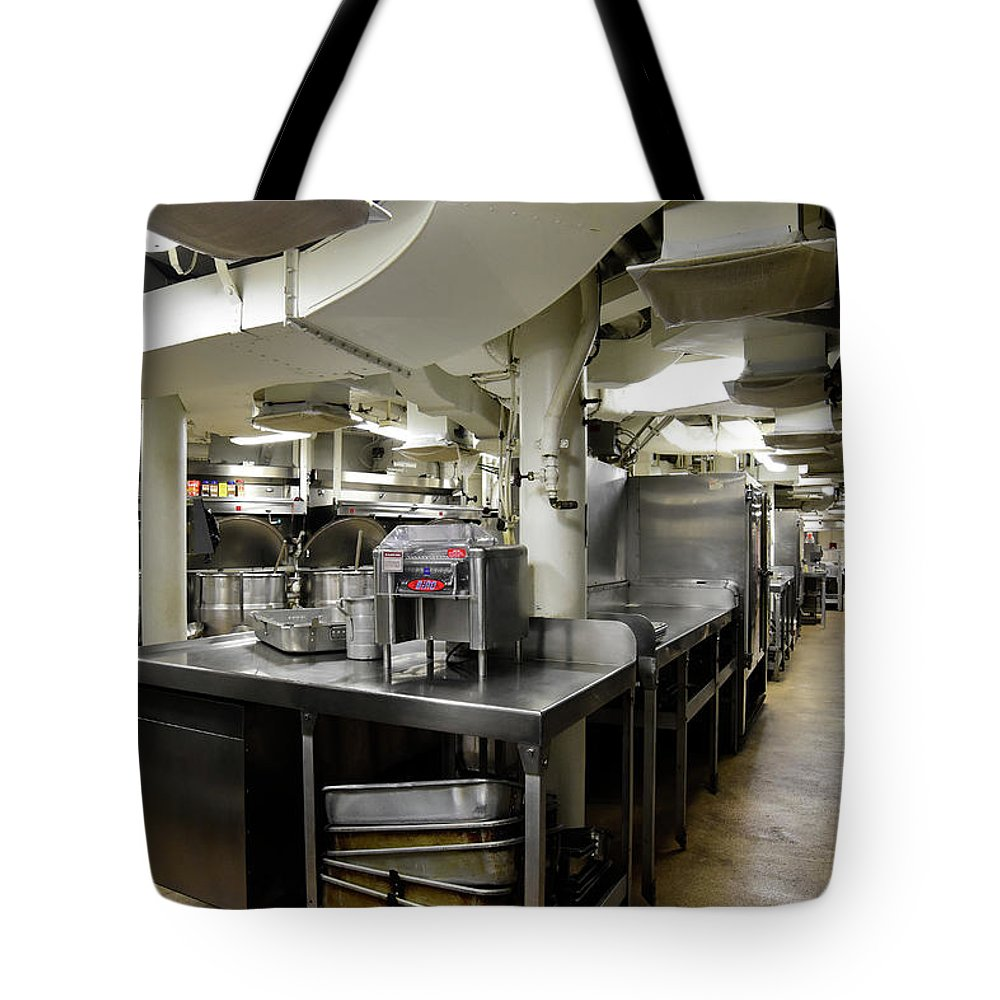 Horizontal Tote Bag featuring the photograph Commercial Kitchen Aboard Battleship by Stocktrek Images