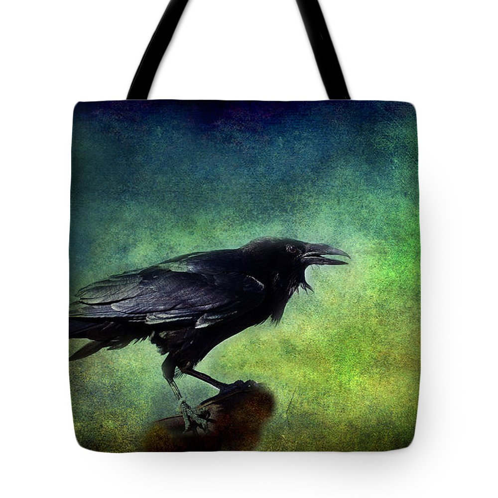 Ravens Tote Bag featuring the photograph Common Raven by Barbara Manis