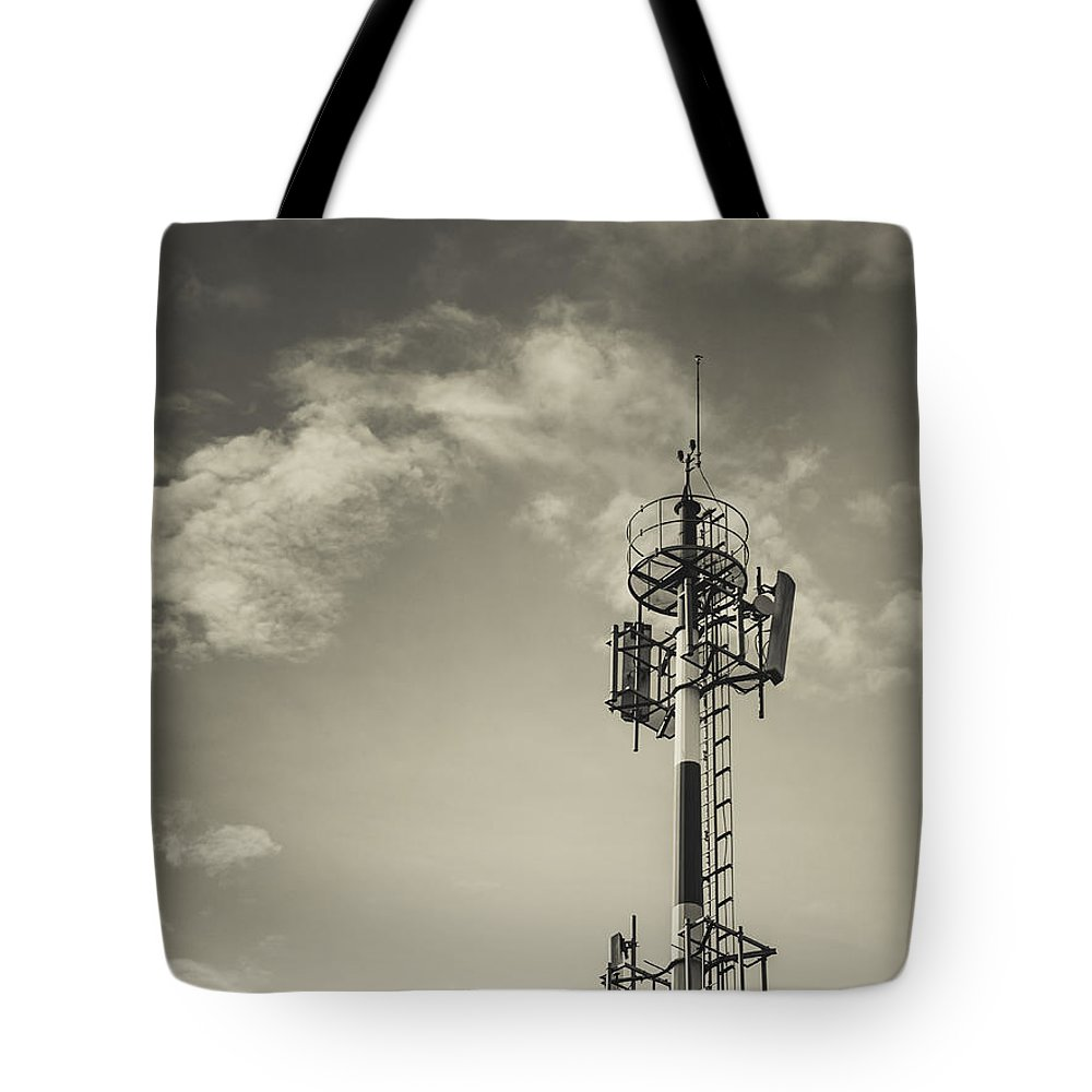 Tower Tote Bag featuring the photograph Communication Tower by Marco Oliveira