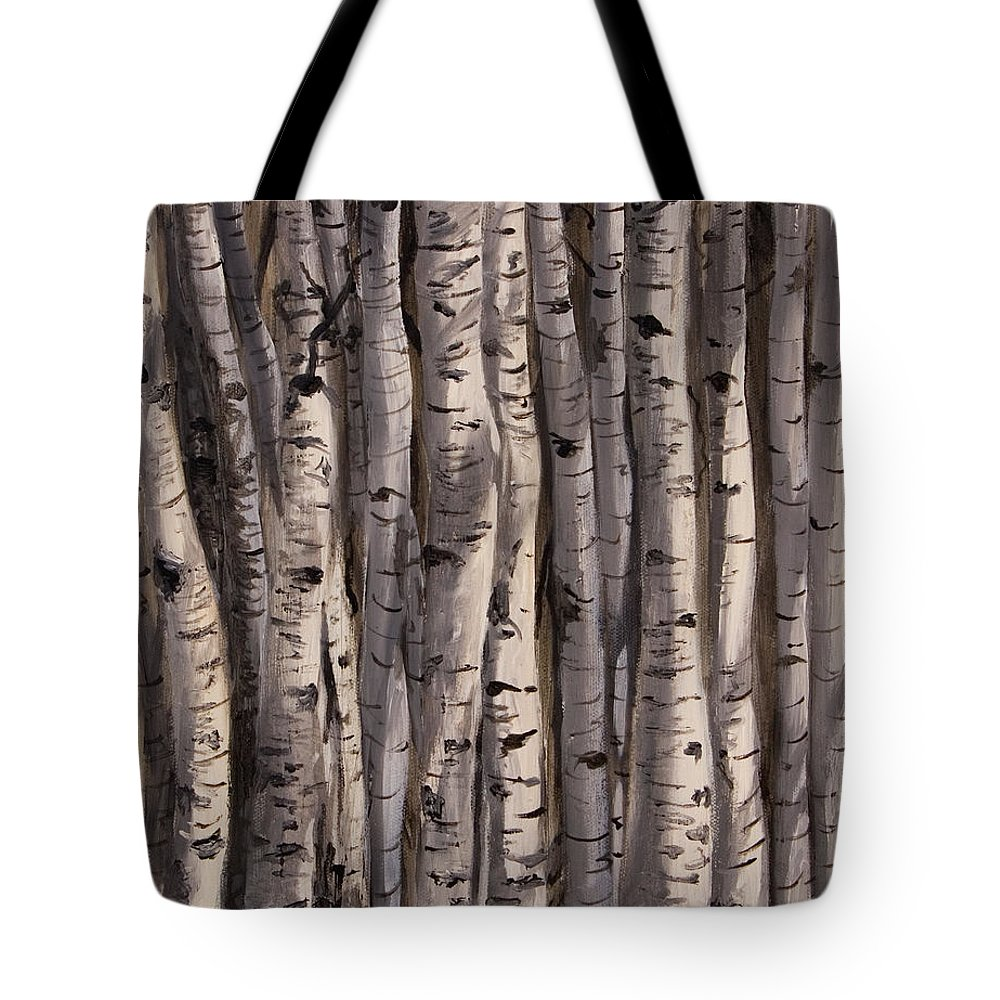 Aspens Tote Bag featuring the painting Community by Jennifer Hickman
