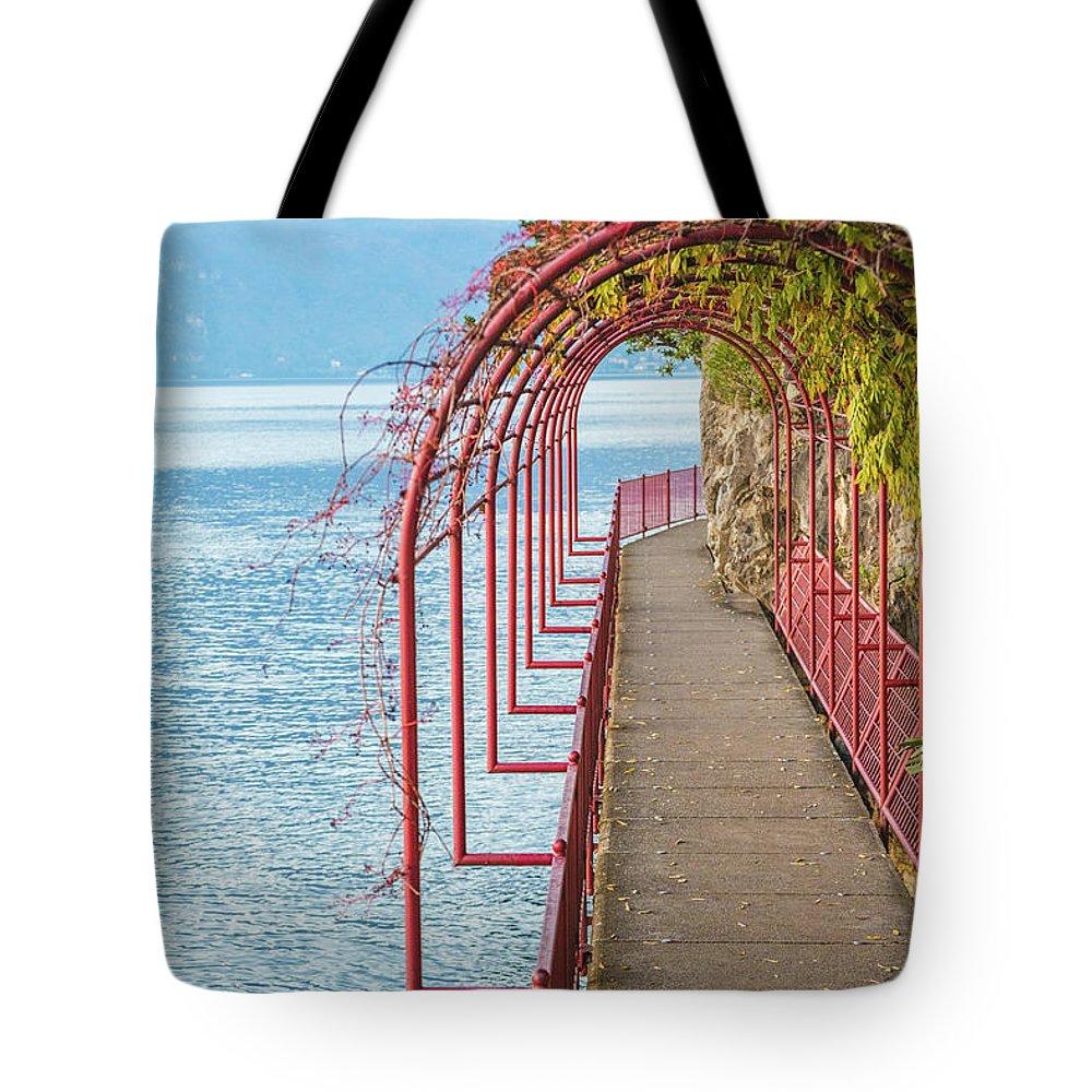 Non-urban Scene Tote Bag featuring the photograph Como District Lake, Varenna by Deimagine